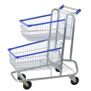 Carrinho duplo para supermercado 160 litros