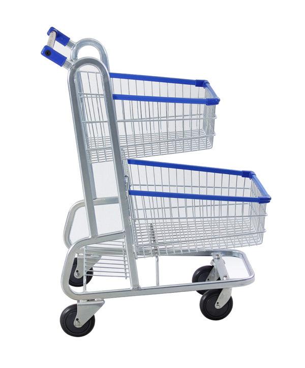 Carrinho duplo para supermercado 90 litros