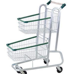 Carrinho duplo para supermercado 70 litros